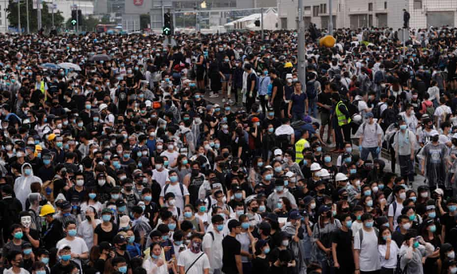 Protesters rally against a proposed extradition bill in Hong Kong on Wednesday.