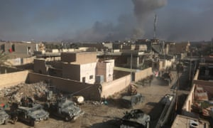 Smoke billows after a reported airstrike by the US-led coalition on the outskirts of Ramadi