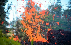 Lava is seen coming from a fissure in Leilani Estates subdivision