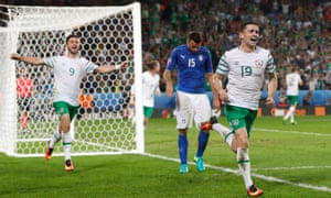 Republic of Ireland's Robbie Brady celebrates after scoring their first goal.