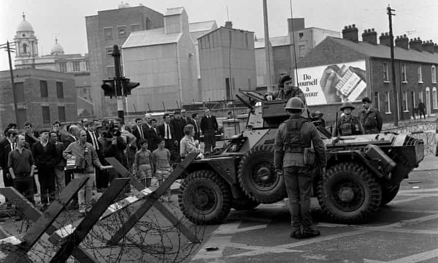 British troops on Divis Street in Belfast on 16 August 1969, two days after fatal shootings by the RUC.