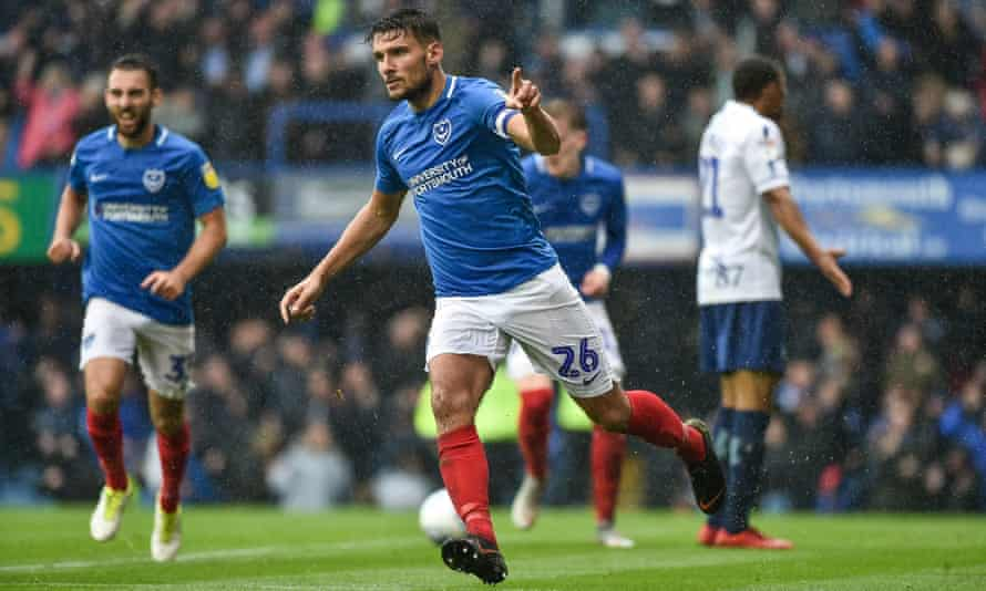 Gareth Evans celebrates after scoring for Portsmouth against Wycombe last month.