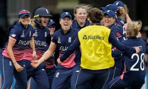 England celebrate winning.