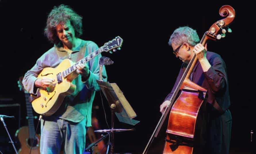 Pat Metheny, jazz guitarist, and Charlie Haden, bass player, in concert at the Barbican centre, London.