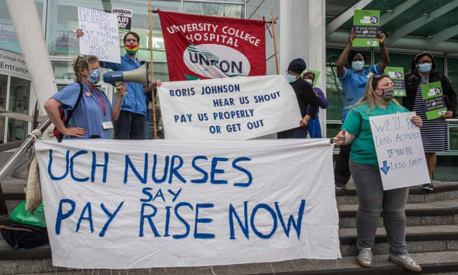 A Unison survey found 80% of NHS workers were unhappy with the 3% pay rise awarded by the UK government.