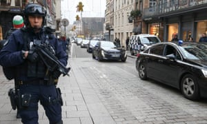 A policeman on patrol in the centre of Strasbourg the day after the shootings.