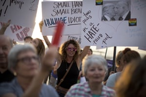 People protested outside the US embassy in Tel Aviv