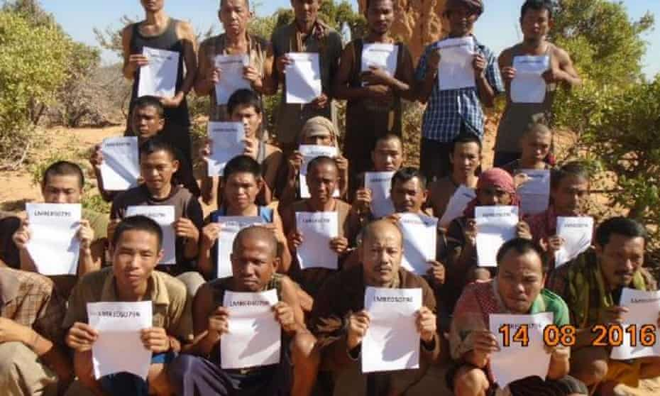 A proof of life picture taken by Somali pirates to prove the crew of the FV Naham 3 were alive.
