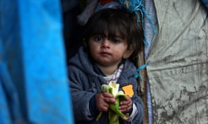 A Kurdish girl in a Dunkirk refugee camp