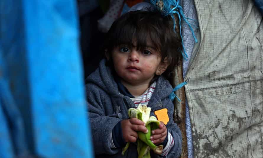 A Kurdish girl in a Dunkirk refugee camp