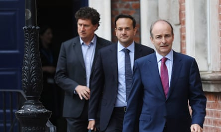 Left to right, climate minister Eamon Ryan, tanaiste Leo Varadkar and taoiseach Michéal Martin at a cabinet meeting on Monday.