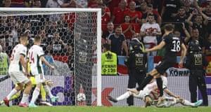 Germany's Leon Goretzka scores his side's second goal.