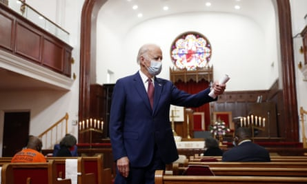 Joe Biden speaks to members of the clergy and community leaders at a church in Wilmington, Delaware.
