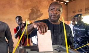 Evariste Ndayishimiye of Burundi's ruling party, the CNDD-FDD, casts his ballot.