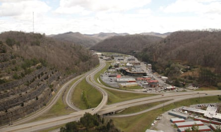 Pikeville. The river used to pass straight through this valley until it was rerouted around Peach Orchard Mountain in the Cut Through Project.