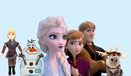 A still from Frozen II, plus merchandise including soft toys and an Olaf backpack