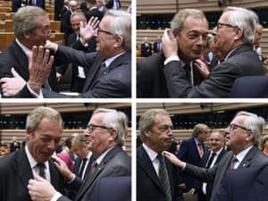 Nigel Farage greets the EU commission president, Jean-Claude Juncker