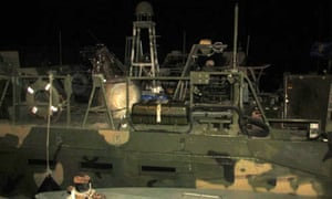 A picture released by Iran's Revolutionary Guards of the US navy boats in custody