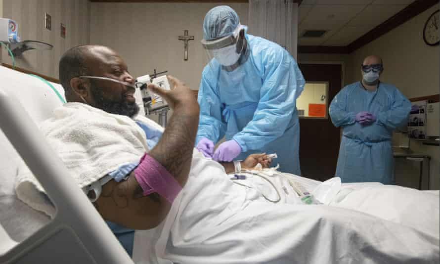 Covid-19 patient Cedric Daniels, 37, being treated at a hospital in Baton Rouge.