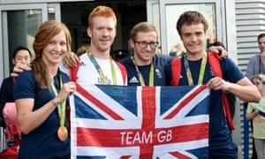 Team GB Olympic cyclists Joanna Rowsell, Ed Clancy, Jason Kenny, Steven Burke