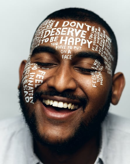 Nathaniel Cole with words written on his face in white