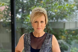New Zealand TV presenter Hilary Barry wearing tiara for the #formalFridays movement.