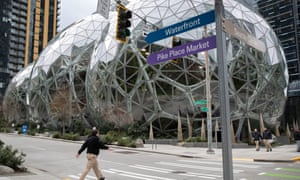 The Amazon headquarters sits virtually empty on Tuesday.