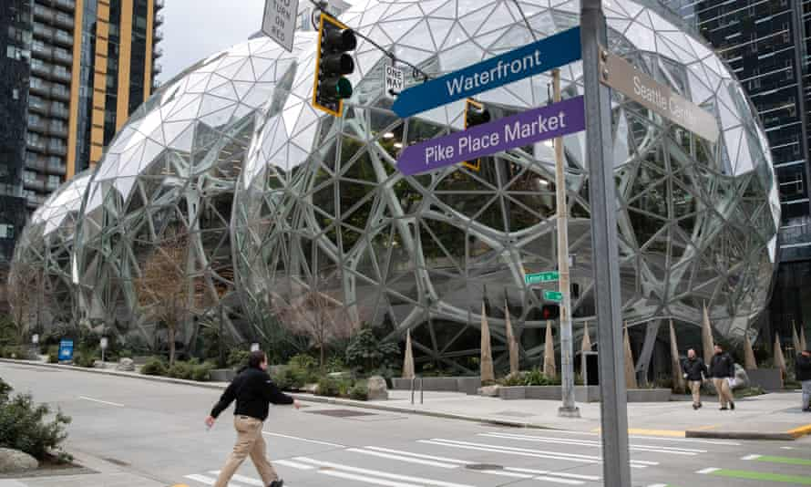 The Amazon headquarters sits virtually empty on Tuesday.