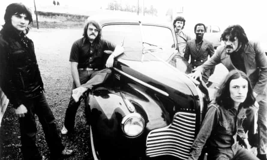 Roger Hawkins, second left, on tour with Traffic in the early 1970s.