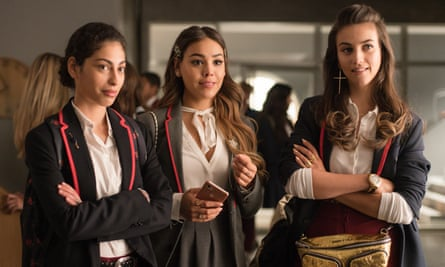 'Hijab removal is shorthand for a rejection of faith' ... Mina El Hammani as Nadia, alongside her Elite co-stars.