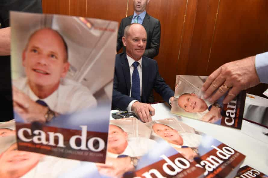 Former Queensland premier Campbell Newman signs copies of his biography Can Do: Campbell Newman and the Challenge of Reform