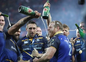 Leinster's Sean Cronin, centre, and Isa Nacewa, left, enjoy their victory.