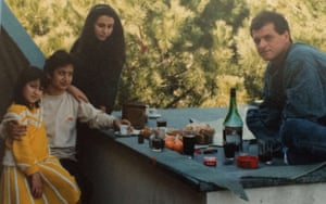 Dina Nayeri (left) with her mother and a Romanian couple at hotel Barba refugee camp, outside Rome, in 1989