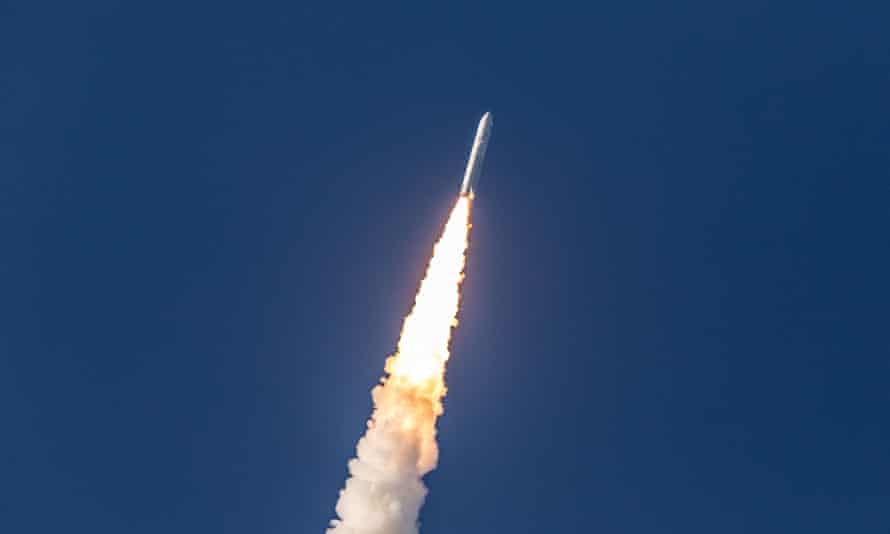 The Ariane 5 rocket launches from the Ariane Launch Area 3 at the European spaceport in Kourou, in French Guiana