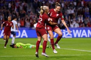 Jodie Taylor celebrates her goal with Beth Mead.