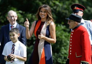 A thumbs-up for the first lady as she avoids the tension of Chequers