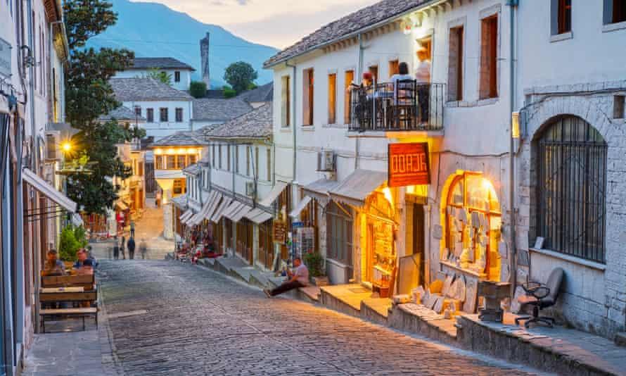 A cobbled street in the old bazaar district of Gjirokastër.