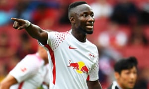 Naby Keïta gestures during the Emirates Cup defeat to Sevilla.