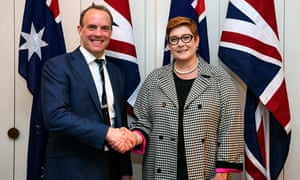 Australia's foreign affairs minister Marise Payne (right) shakes hands with Britain's foreign secretary Dominic Raab prior to their bilateral meeting at Parliament House in Canberra on Thursday.