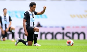 Newcastle United midfielder Isaac Hayden takes a knee at the start of the Premier League match against Sheffield United at St James' Park on Sunday.
