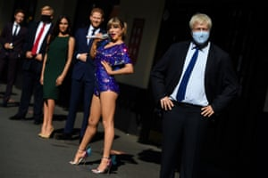 Wax figures, including of the Boris Johnson, Donald Trump and Taylor Swift, outside Madame Tussauds in London, UK
