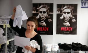 Emily Perlstein<br>In this photo taken April 3, 2015, posters of Hillary Rodham Clinton hang on the wall as intern Emily Perlstein packs up an order at the Ready for Hillary super Pac store in Arlington, Va. When Hillary Rodham Clinton announces her presidential campaign, as expected, more than a dozen people in a nondescript office building overlooking the Potomac River will blast out the news by email and social media to millions of her supporters, urging them to sign onto her campaign. And then the super PAC will begin winding down its operations just as the Democrat opens her White House campaign. (AP Photo/Andrew Harnik)