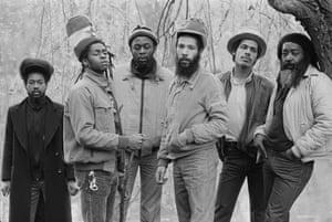 English reggae band Steel Pulse in Birmingham, April 1982. Left to right are Basil Gabbidon, David Hinds, Selwyn Brown, Ronnie McQueen, Colin Gabbidon, and Steve Nisbett.