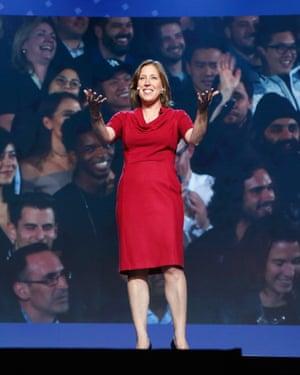 Wojcicki on stage presenting