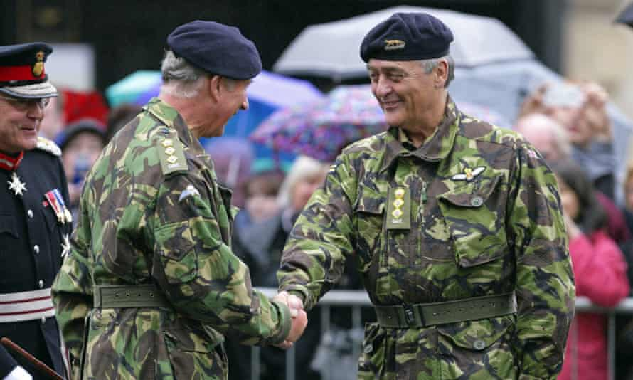 The Duke of Westminster greets the Prince of Wales during the celebrations for The Queen's Own Yeomanry's 40th anniversary in 2011.