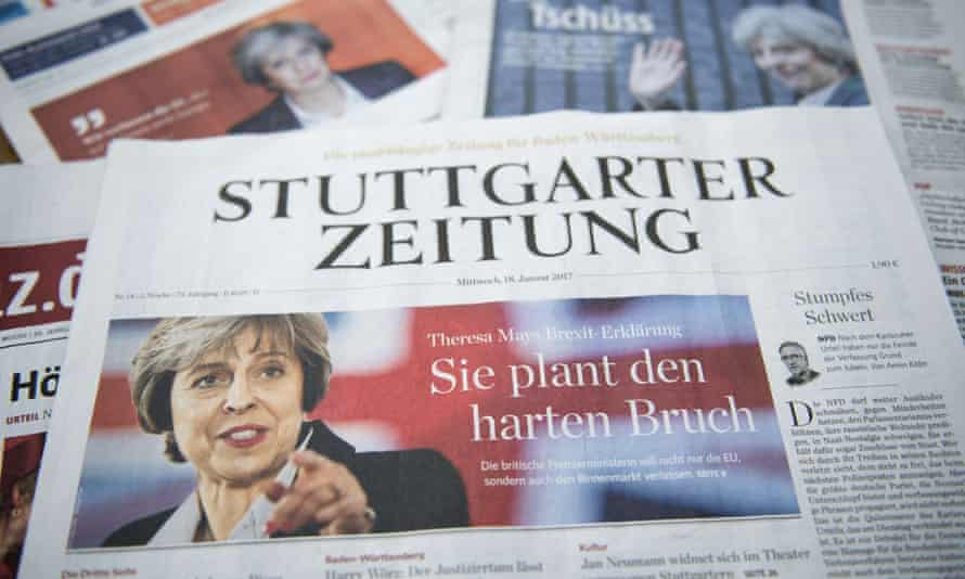 A selection of German front pages feature images and stories on Theresa May's Brexit speech.