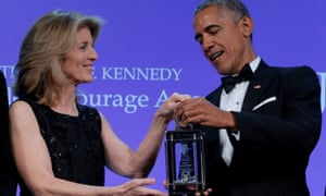 Caroline Kennedy presents the 2017 Profile in Courage Award to former US president Barack Obama during a ceremony at the John F. Kennedy Library in Boston, Massachusetts, May 2017.