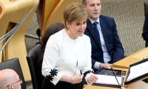 Nicola Sturgeon speaking at first minister's questions in the Scottish parliament today.