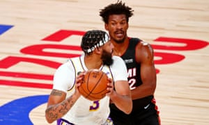 Los Angeles Lakers forward Anthony Davis and Jimmy Butler during the first-half of Sunday's game