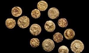 Gold thrymsas from the Crondall Hoard, which was found in Hampshire in 1828. It remains the most important evidence for the start of English coinage. The hoard was buried sometime before 650 and includes the earliest Anglo-Saxon coins.